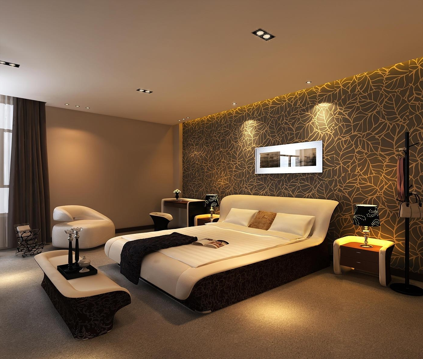 Fashionable Bedroom Brown Accent Wall (View 4 of 15)