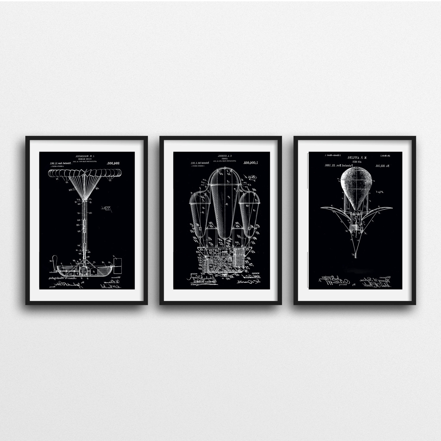 Fashionable Black And White Framed Art Prints In 3 Framed And Matted Patent Prints Free Shipping Steampunk Patent (View 9 of 15)