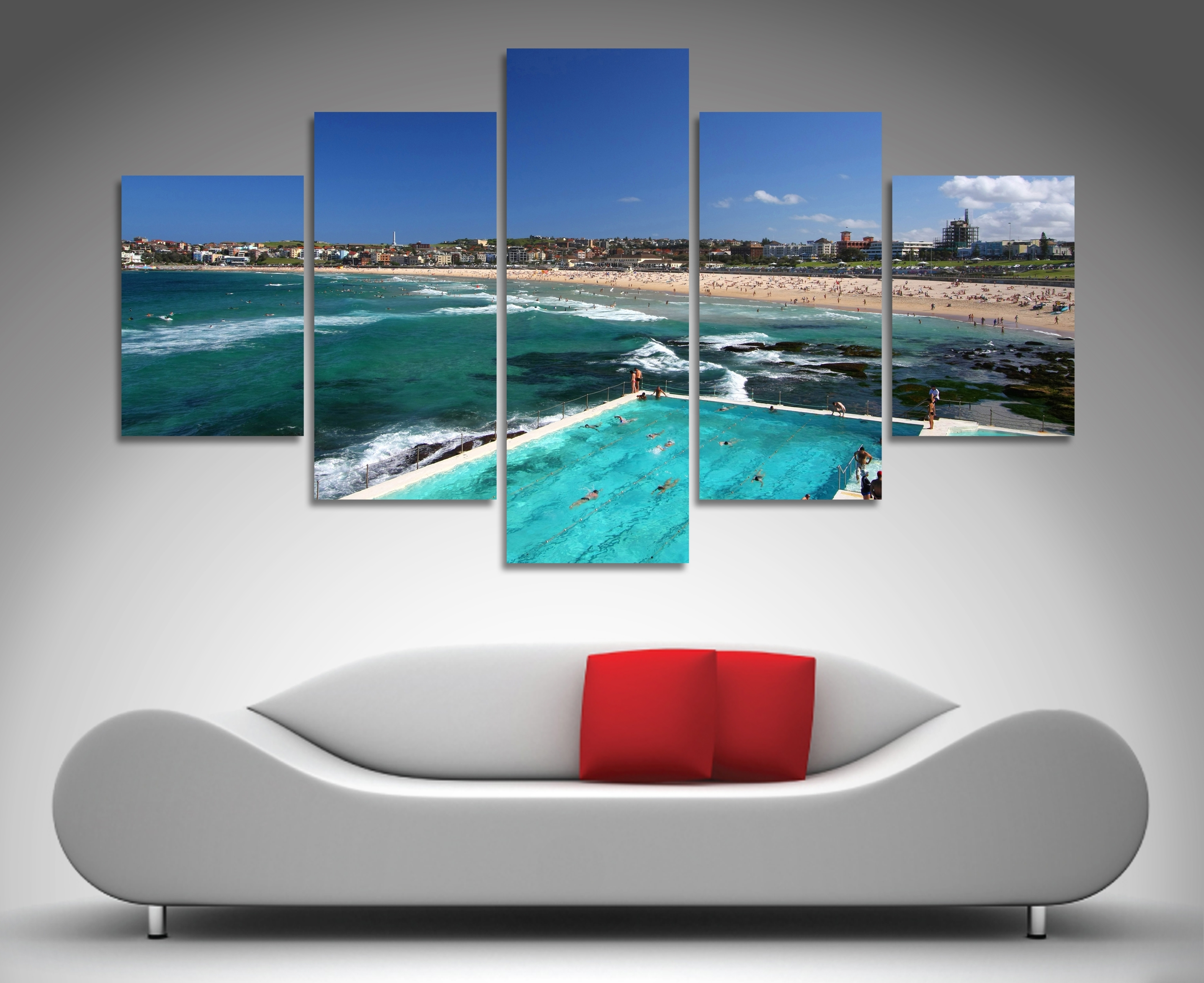 Fashionable Canvas Wall Art In Australia Within Bondi Beach 5 Panel Wall Art (View 8 of 15)