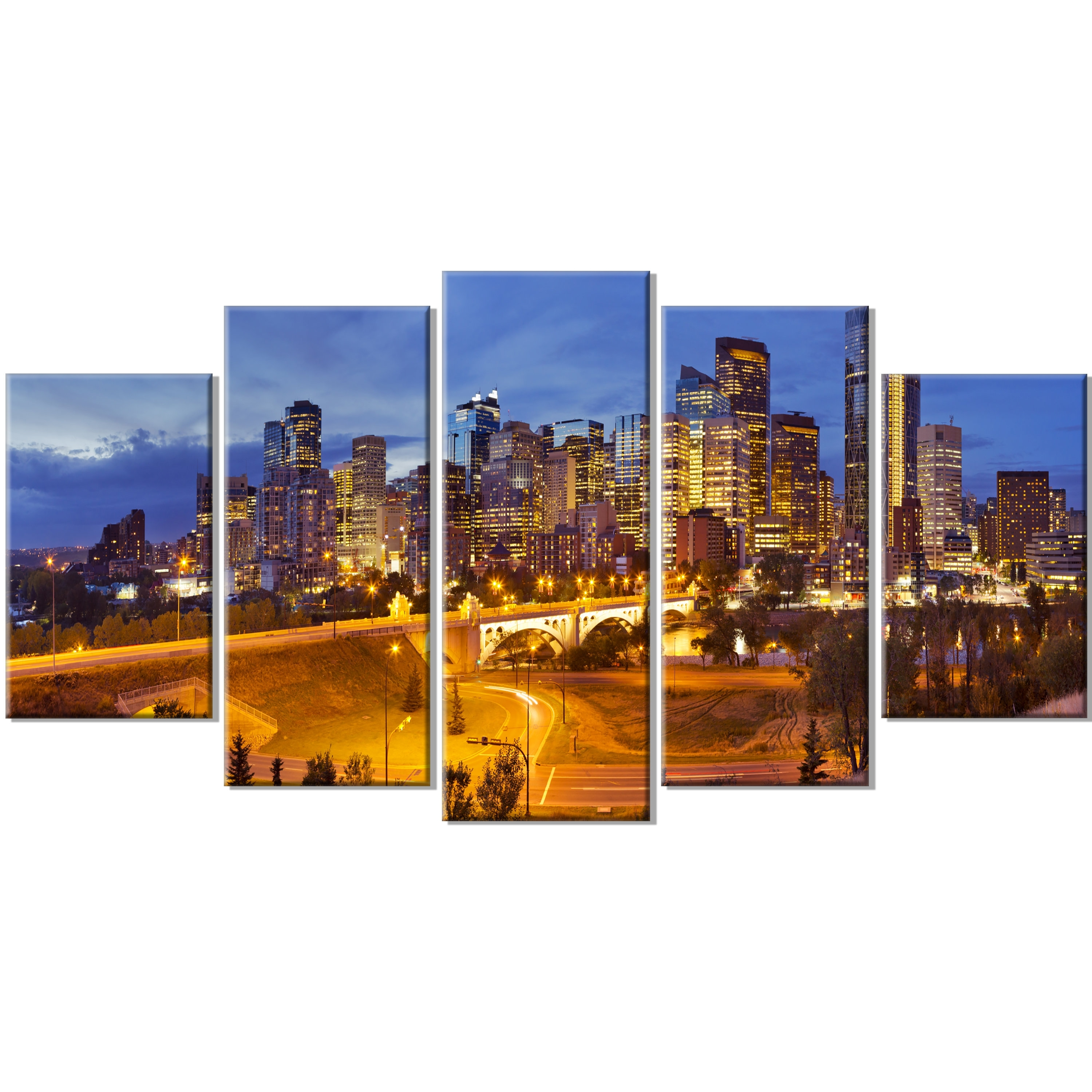 Fashionable Designart 'skyline Of Calgary At Night Panorama' 5 Piece Wall Art With Regard To Calgary Canvas Wall Art (View 8 of 15)