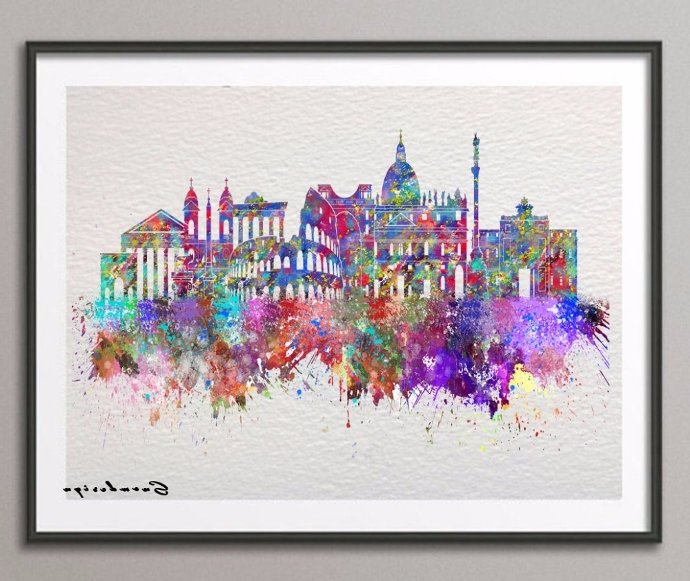 Fashionable Diy Original Watercolor Rome Skyline Canvas Painting Pop Wall Art In Canvas Wall Art Of Rome (View 7 of 15)