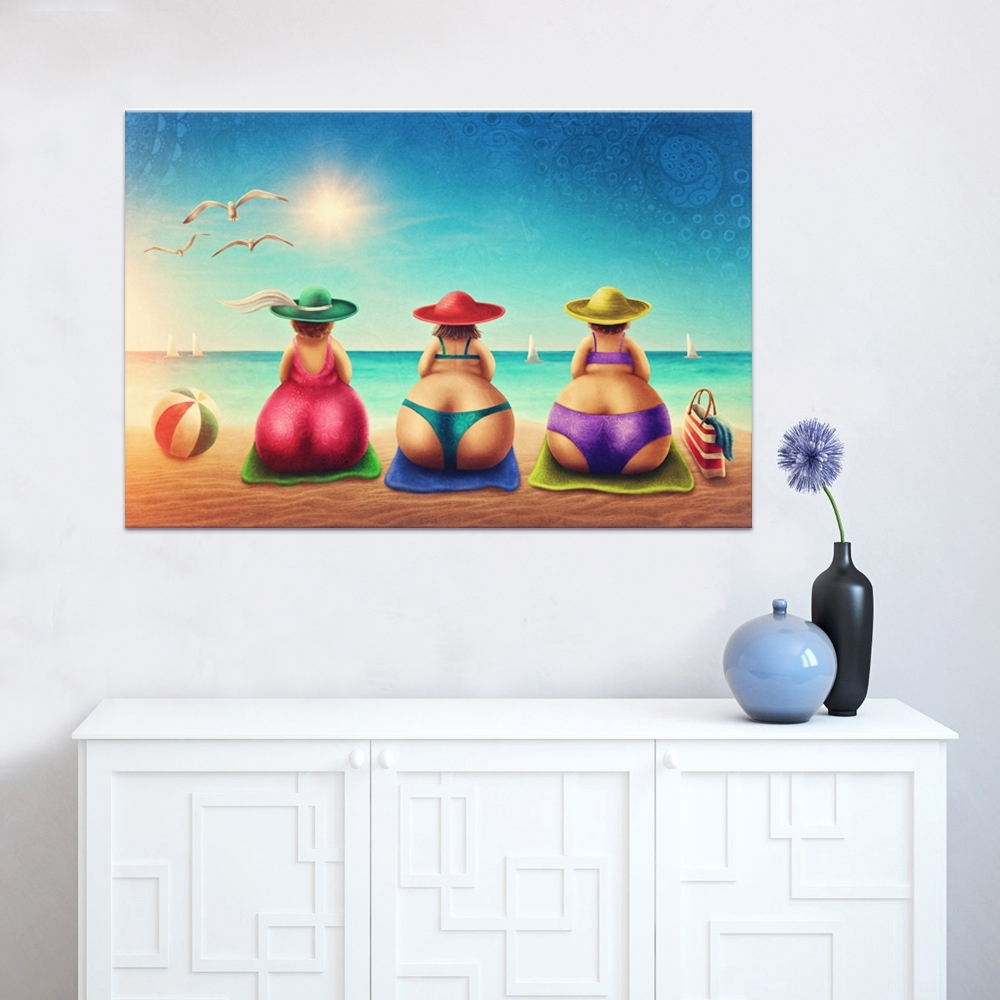 Fashionable Fat Lady On Beach Canvas Wall Art 1 Piece Bikini Woman Holiday Within Beach Canvas Wall Art (View 15 of 15)