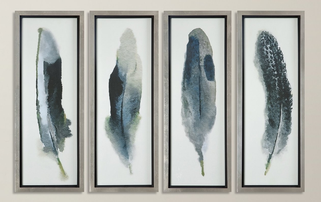 Fashionable Feathered Beauty Prints 4 Piece Framed Graphic Art Set & Reviews In Framed Art Prints Sets (View 6 of 15)