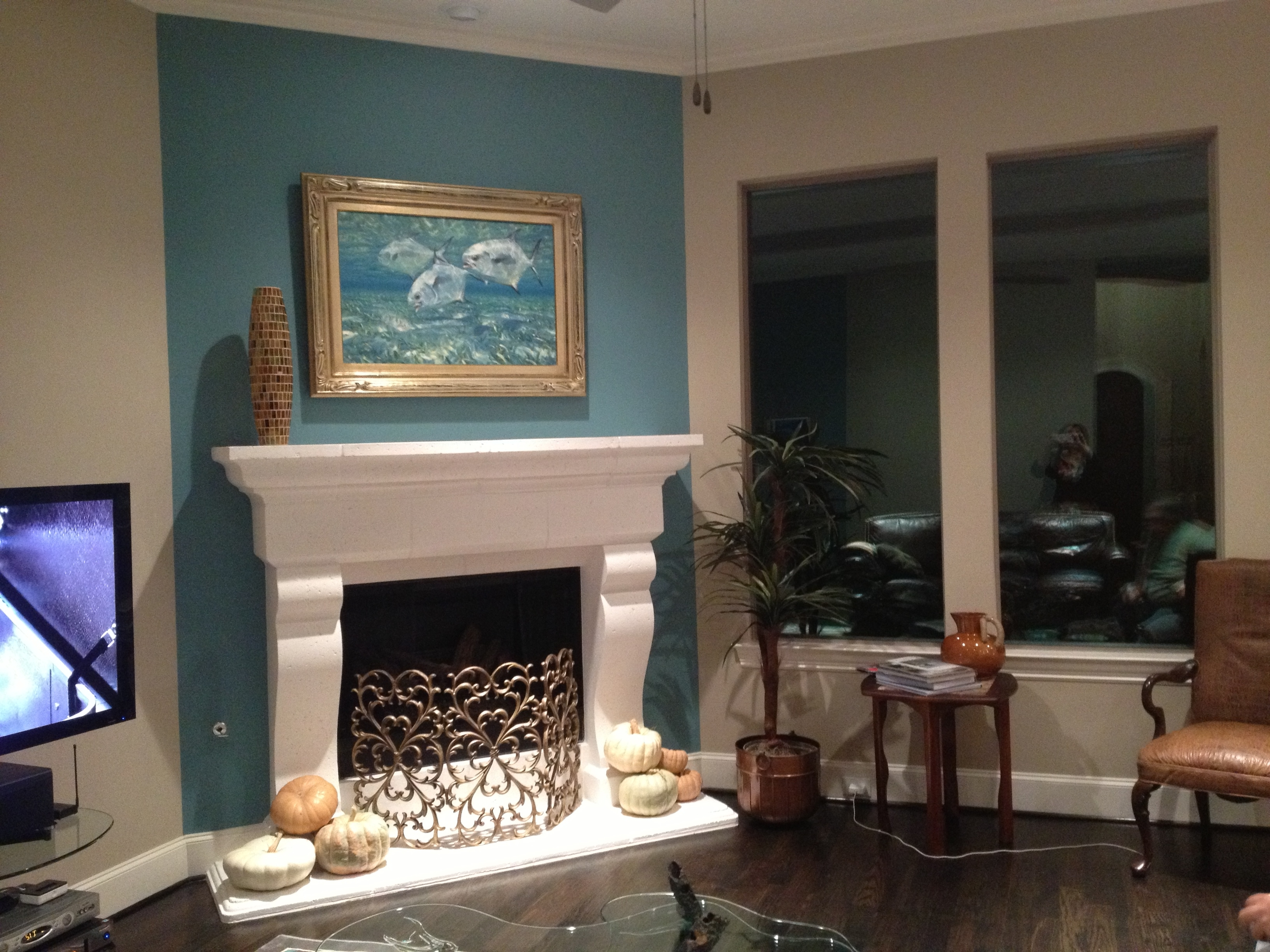 Fashionable Fireplace Wall Accents Intended For Fireplace Accent Wall Complements Painting (View 2 of 15)