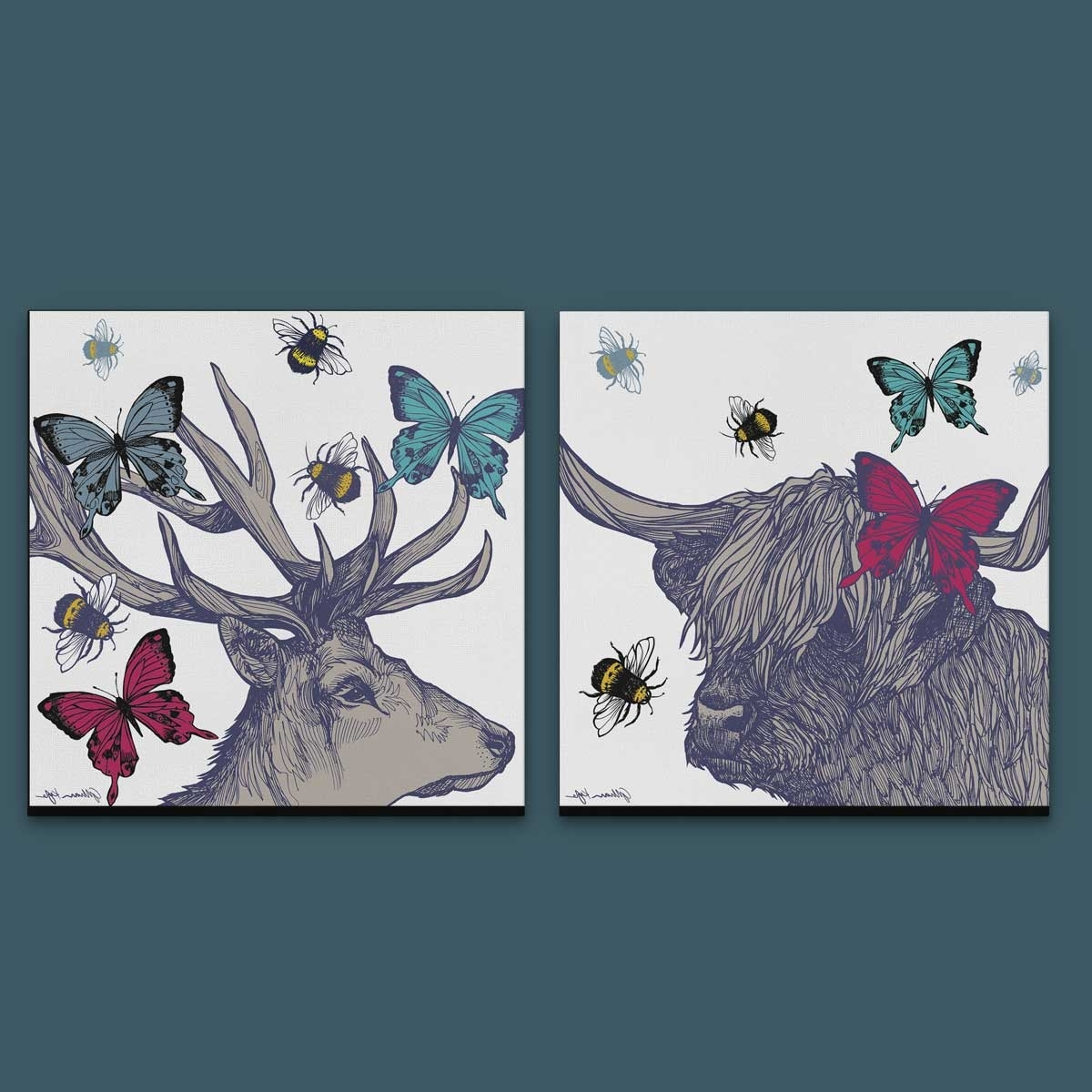 Fashionable Gillian Kyle Scottish Wall Art Stag And Lola Set Of Two Canvas Prints Regarding Canvas Wall Art Pairs (View 6 of 15)