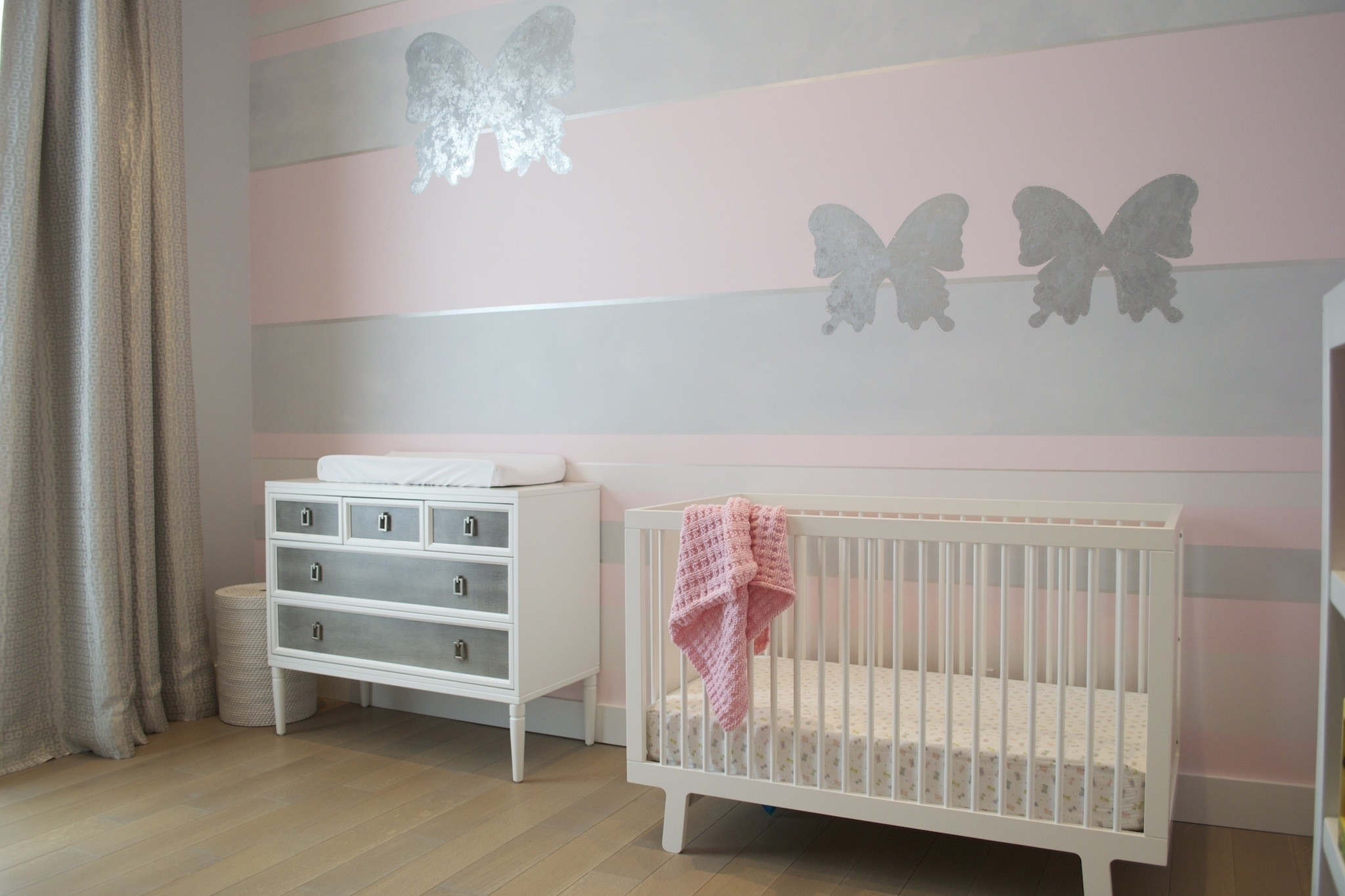 Fashionable Girl Nursery Wall Accents Regarding Design Reveal: Pink Butterfly Nursery – Project Nursery (View 3 of 15)