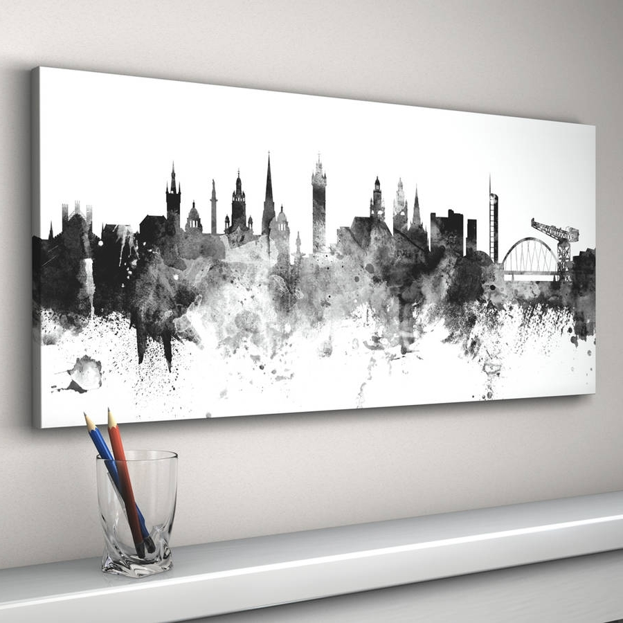 Fashionable Glasgow Canvas Wall Art Inside Glasgow Skyline Cityscape Black And White Art Printartpause (View 2 of 15)
