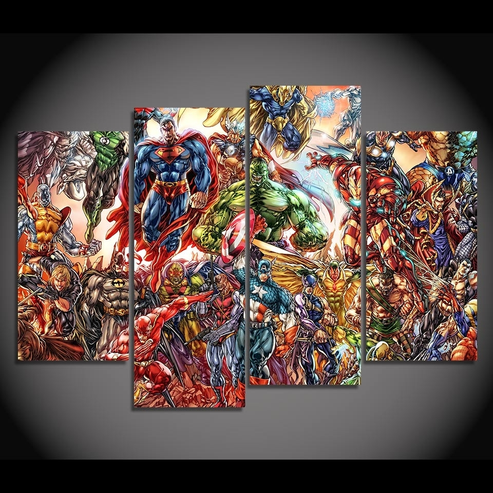 Fashionable Hd Printed 4 Canvas Art Painting Comics Super Man Iron Man Poster Within Marvel Canvas Wall Art (View 4 of 15)