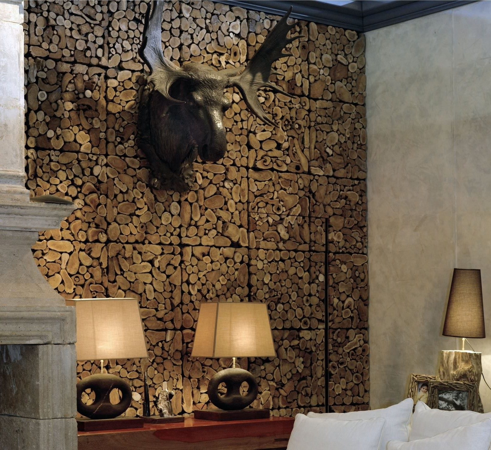 Fashionable Interior Design : Spectacular Black Finished Faux Deer Head Hang In Wood Paneling Wall Accents (View 6 of 15)