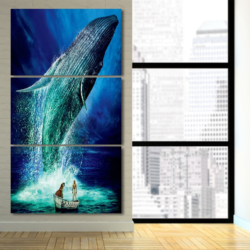 Fashionable Jump Canvas Wall Art Within 3 Pcs/set Life Of Pi Jump Blue Whale Hd Printed Framed Canvas (View 14 of 15)