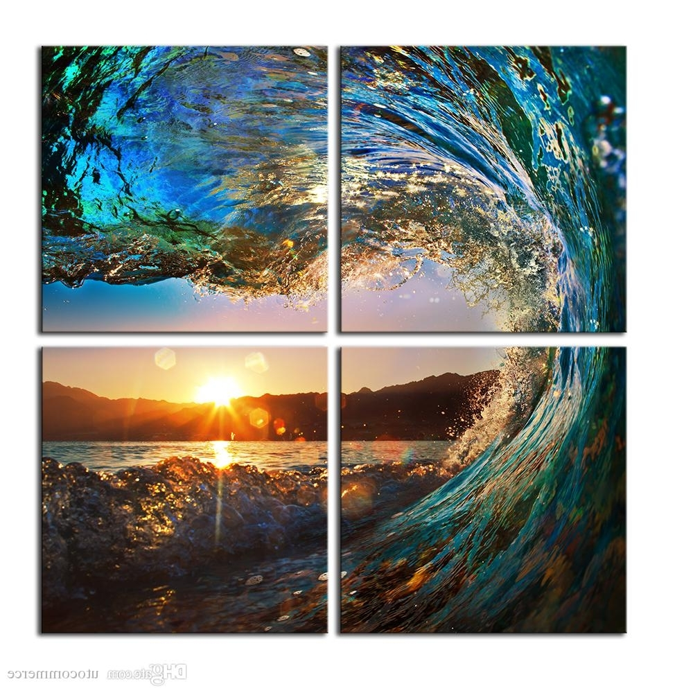 Fashionable Landscape Canvas Wall Art Regarding 2018 4 Panels Hd Blue Sea Wave Seascape Canvas Painting Home Decor (View 3 of 15)