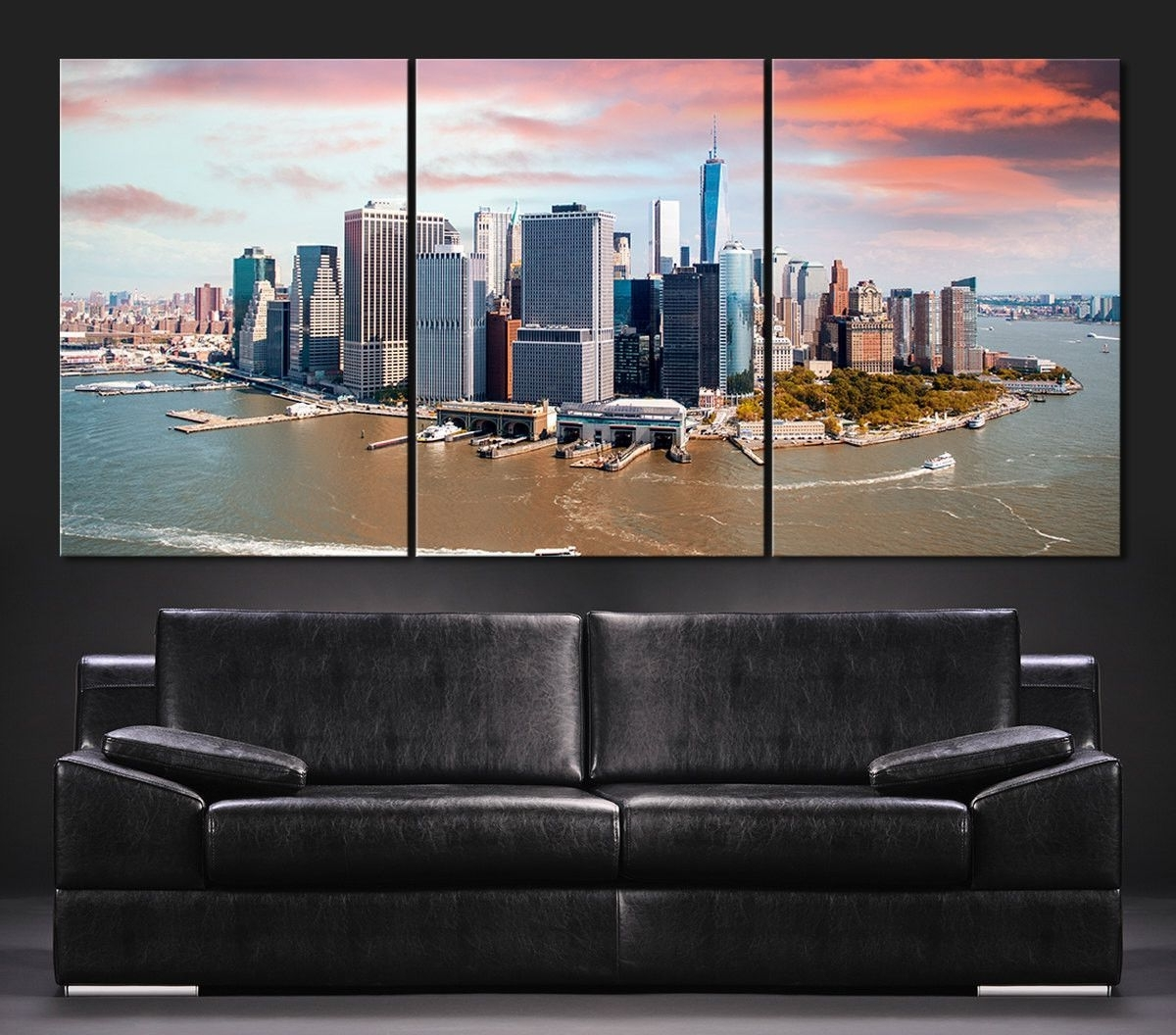 Fashionable Large Wall Art Canvas Print + Skyline Panorama New York Manhattan Pertaining To Murals Canvas Wall Art (View 6 of 15)
