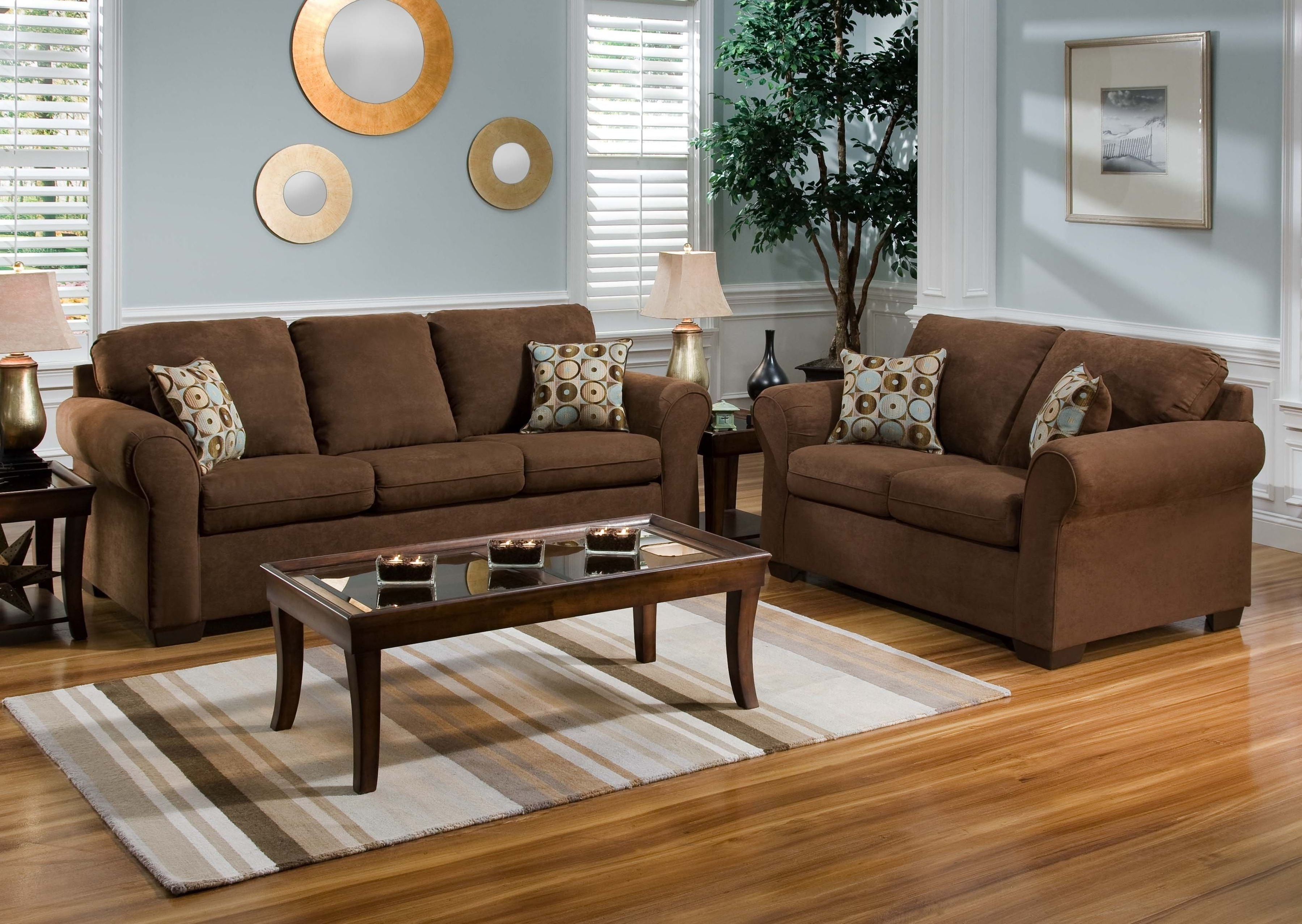 Fashionable Living Room Paint Ideas With Brown Couch And Blue Excerpt With Brown Couch Wall Accents (View 15 of 15)