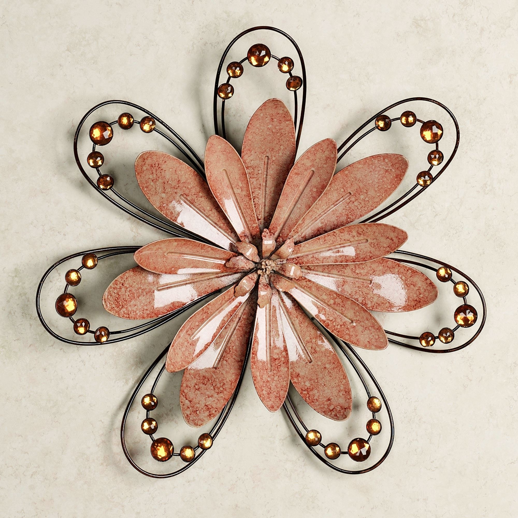 Fashionable Metal Wall Accents With Regard To Peach Floral Gem Metal Wall Accent (View 5 of 15)
