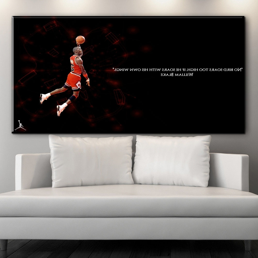 Fashionable Michael Jordan Canvas Wall Art For Zz1592 2017 Sale New Paintings Cuadros Decor Sports Basketball (View 3 of 15)