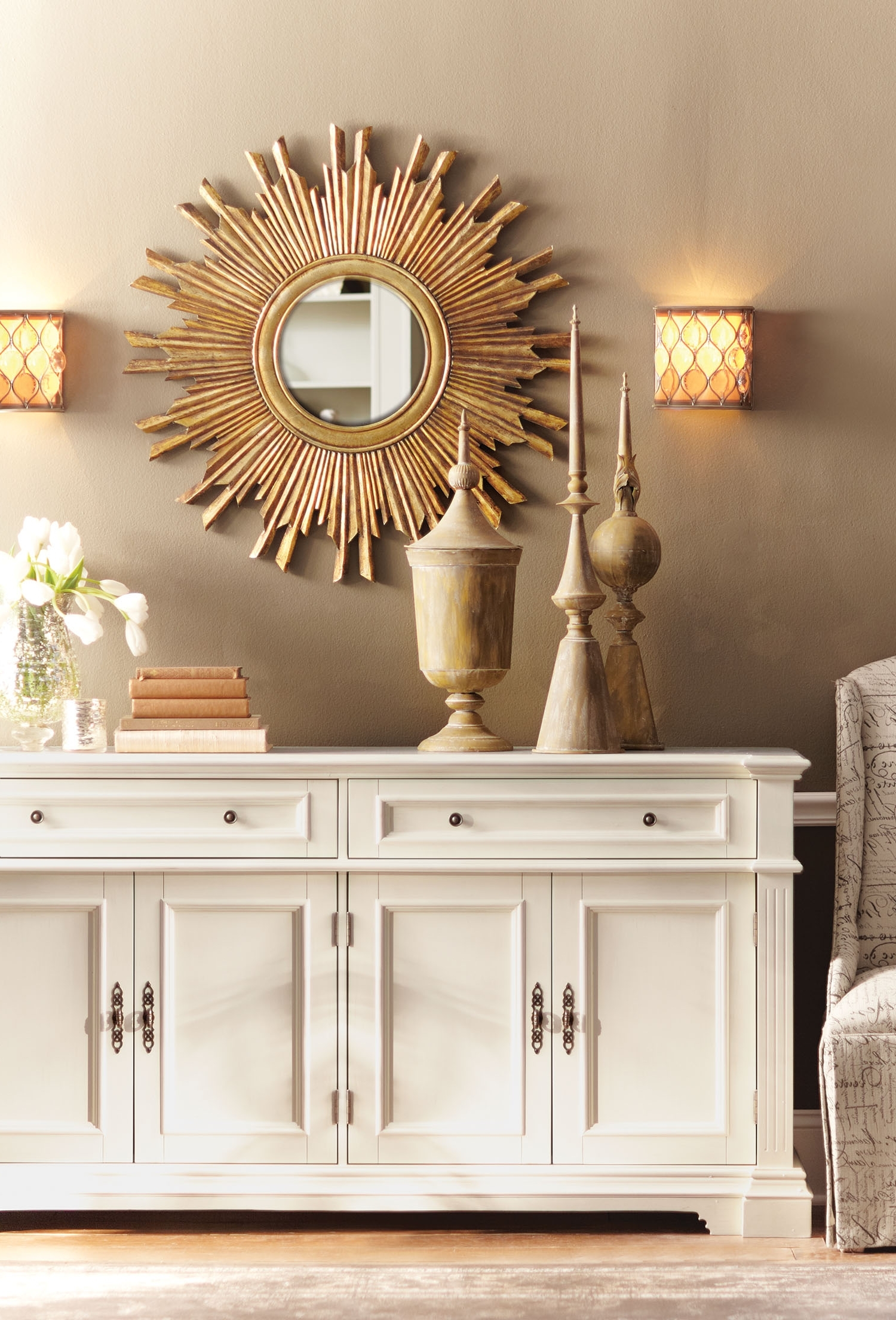 Fashionable Mirrors Wall Accents Within Gorgeous In Gold (View 9 of 15)