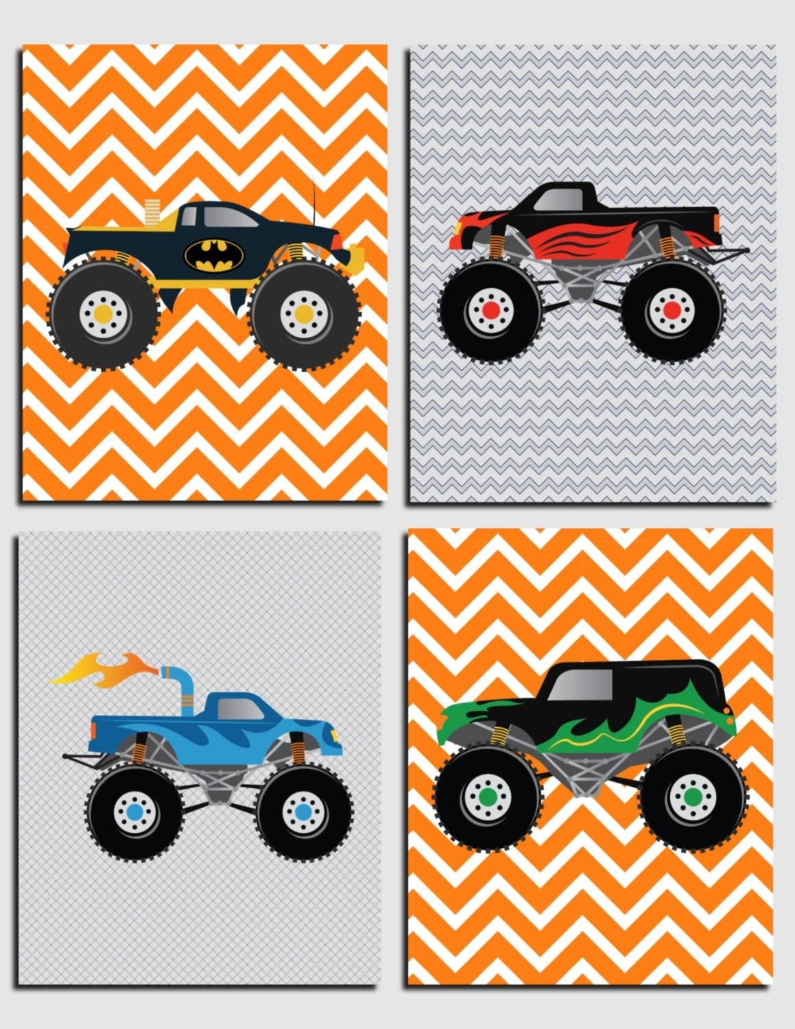 Fashionable Monster Trucks Wall Art, Boy Nursery Art, Kids Wall Art, Toddler Intended For Cars Theme Canvas Wall Art (View 10 of 15)