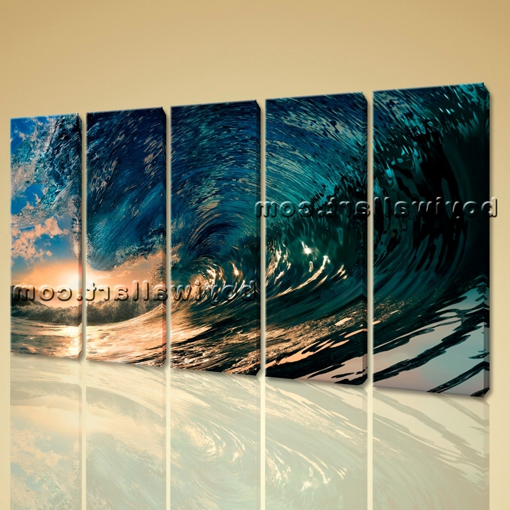 Fashionable Ocean Canvas Wall Art Intended For Wall Art Canvas Print Hd Ocean Wave Surf Sunset Contemporary Home (View 11 of 15)