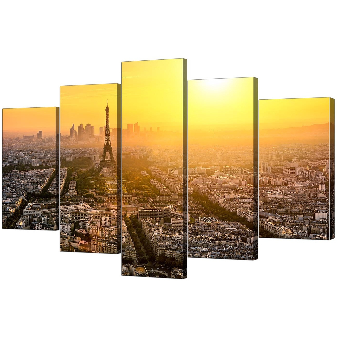 Fashionable Paris Skyline Canvas Pictures For Your Office – 5 Panel Intended For Canvas Wall Art Of Paris (View 8 of 15)