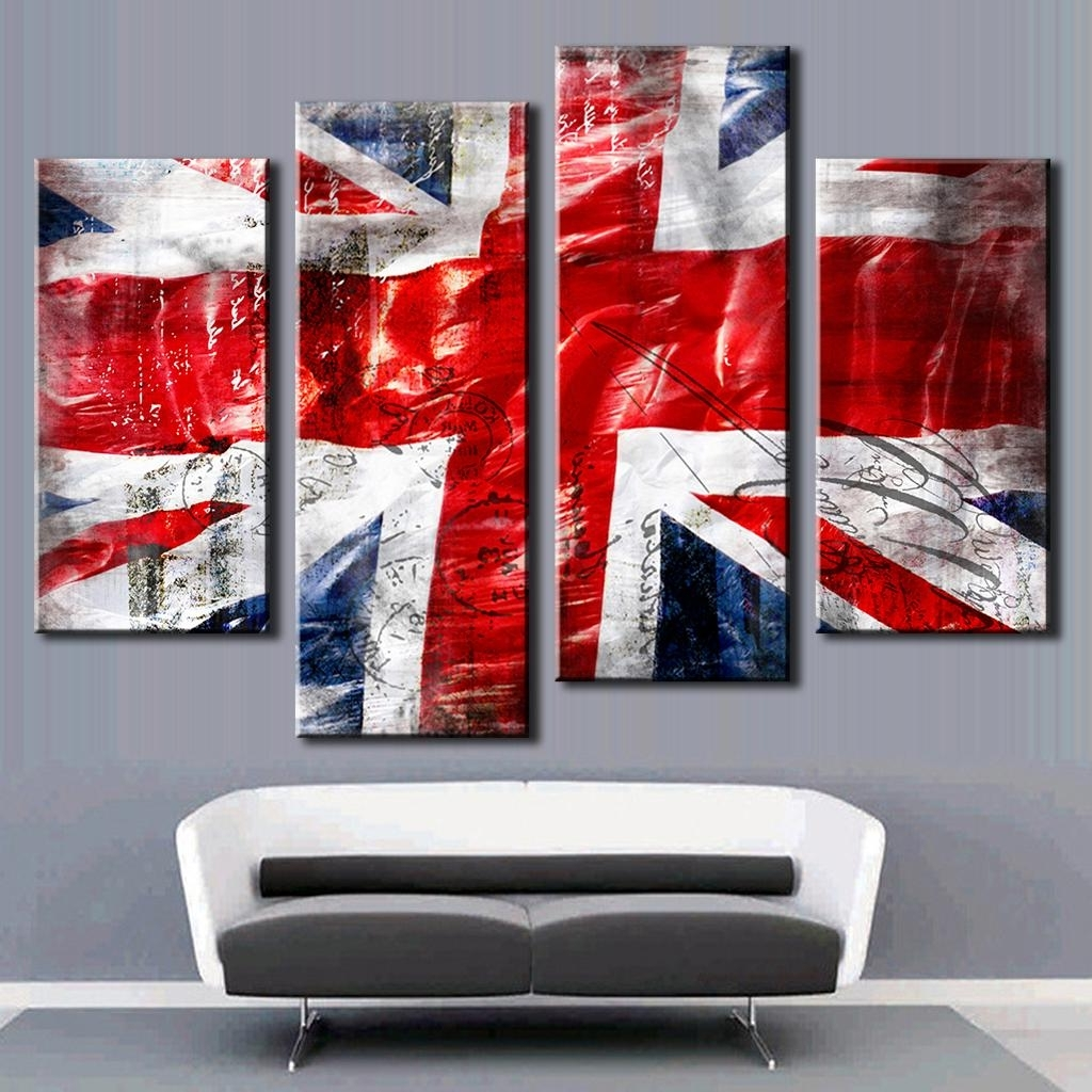 Fashionable Union Jack Canvas Wall Art Throughout Hot 4 Pcs/set Combined Wall Art Painting Print On Canvas Red Blue (View 1 of 15)
