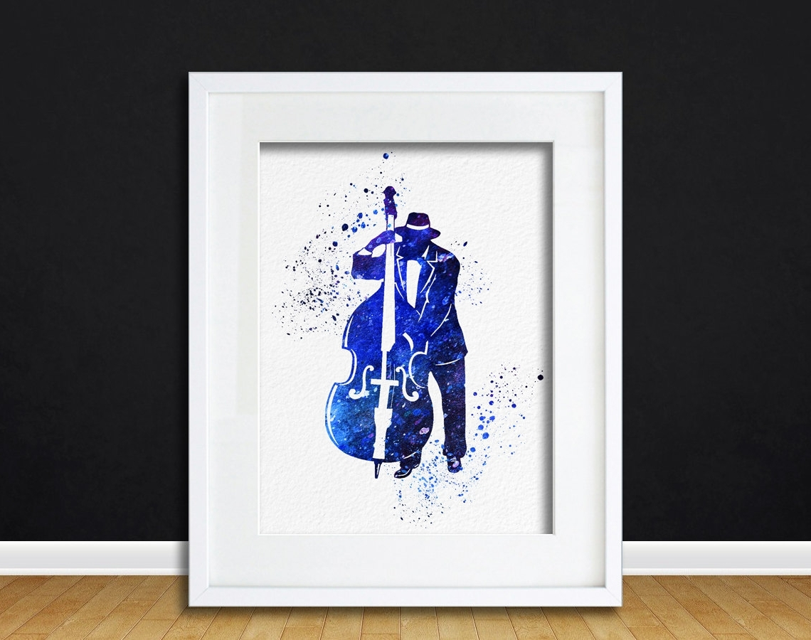 Fashionable Watercolor Art Print Bass Jazz Player Modern 8X10 Wall Art Decor For Bass Framed Art Prints (View 8 of 15)