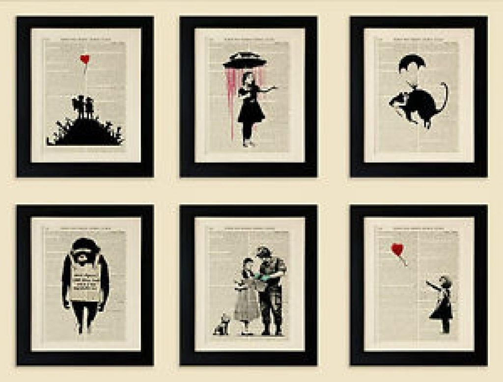 Favorite Antique Framed Art Prints With Frame Set Of 6 Framed Art Prints On Old Antique Book Page, Banksy (View 7 of 15)