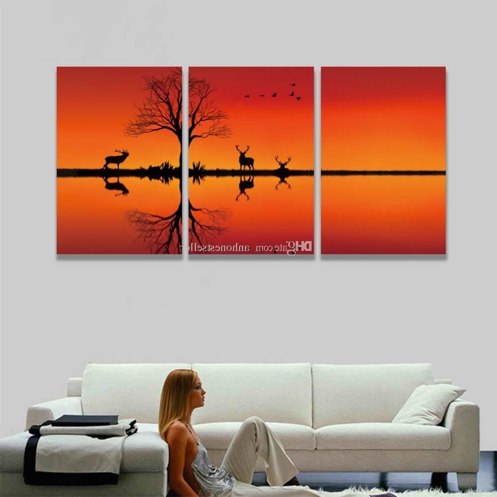 Favorite Canvas Wall Art In Red Inside 3 Panel Hd Prints Canvas Wall Art Red Sunset Animal Deer Landscape (View 7 of 15)