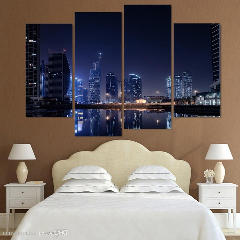 Favorite Dubai Canvas Wall Art With 2018 Canvas Painting Canvas Art Dubai City Lights Night Hd Printed (View 2 of 15)