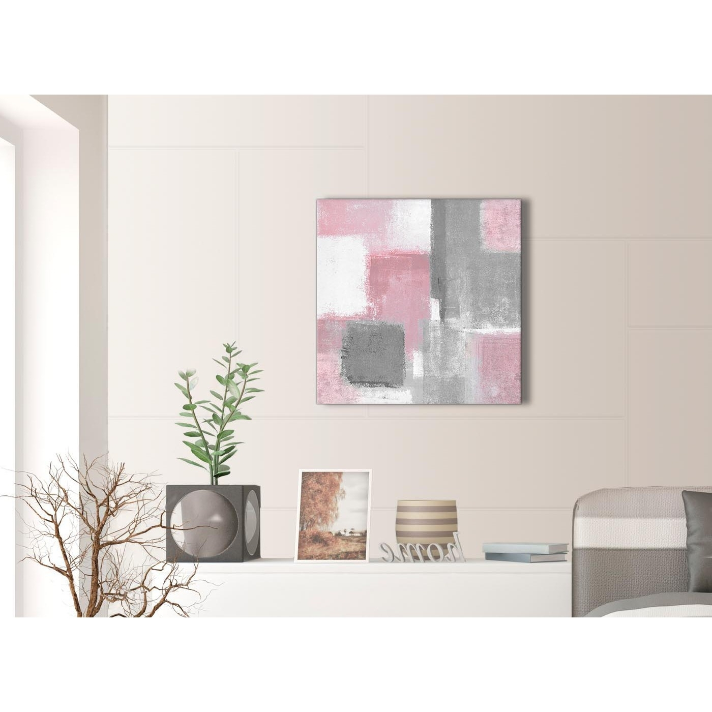 Favorite Grey Canvas Wall Art Intended For Blush Pink Grey Painting Hallway Canvas Wall Art Decorations (View 4 of 15)