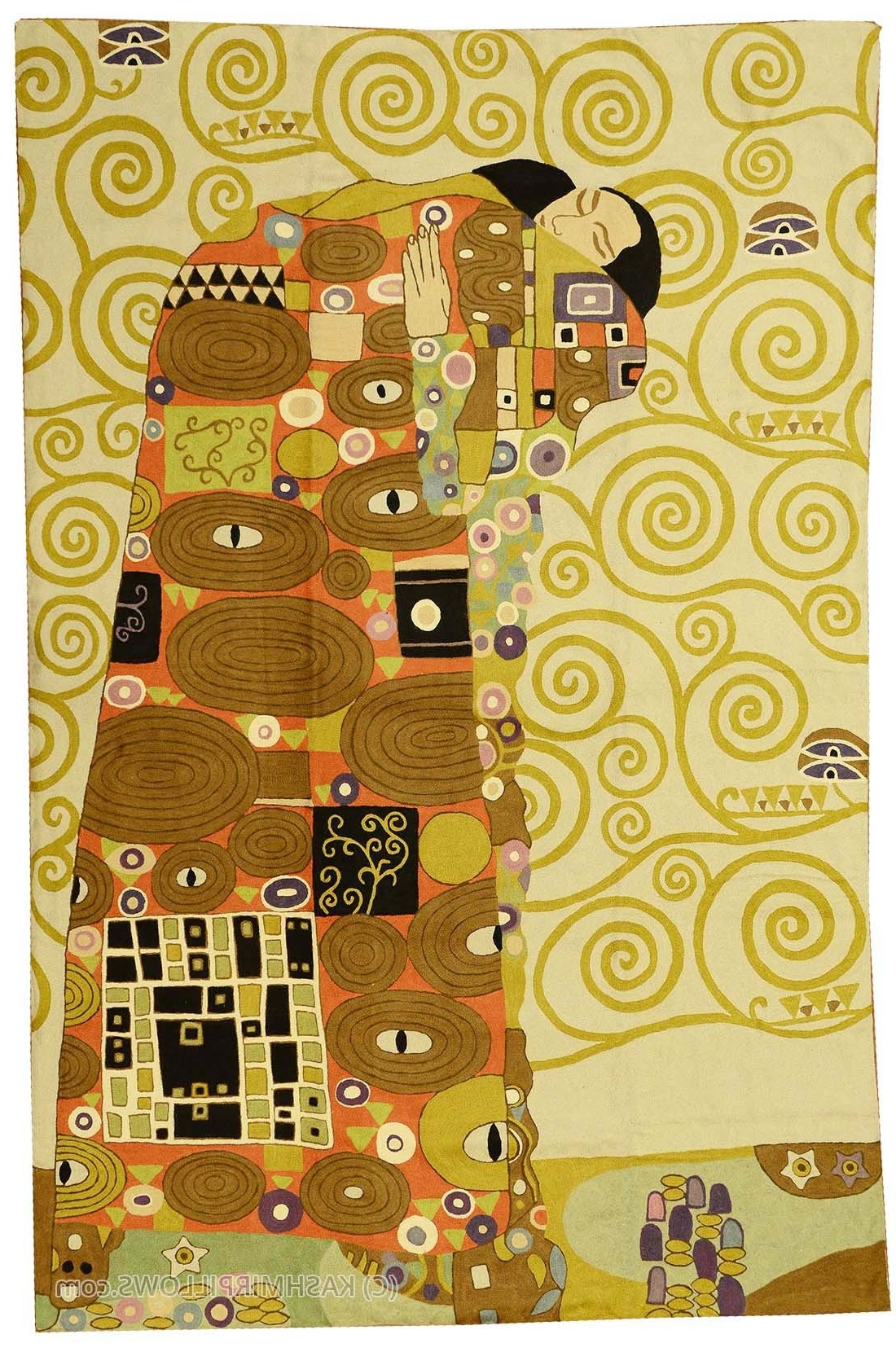 Favorite Klimt Kiss Wool Rug / Wall Tapestry Hand Embroidered 6Ft X 4Ft Intended For Abstract Textile Wall Art (View 10 of 15)