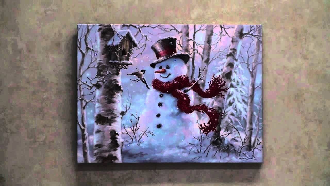Favorite Lighted Canvas Wall Art Inside Snowman Led Lighted Canvas Wall Art – Youtube (View 4 of 15)