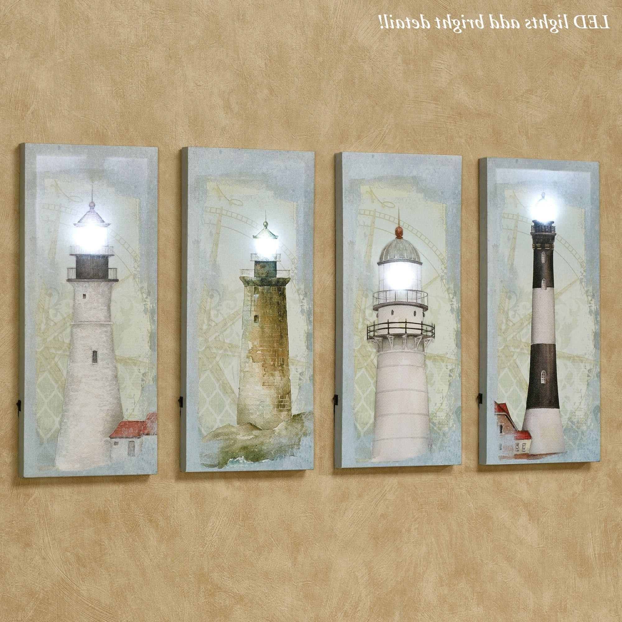 Favorite Lighted Canvas Wall Art Regarding Coastal Lighthouse Led Lighted Canvas Wall Art Set (View 5 of 15)
