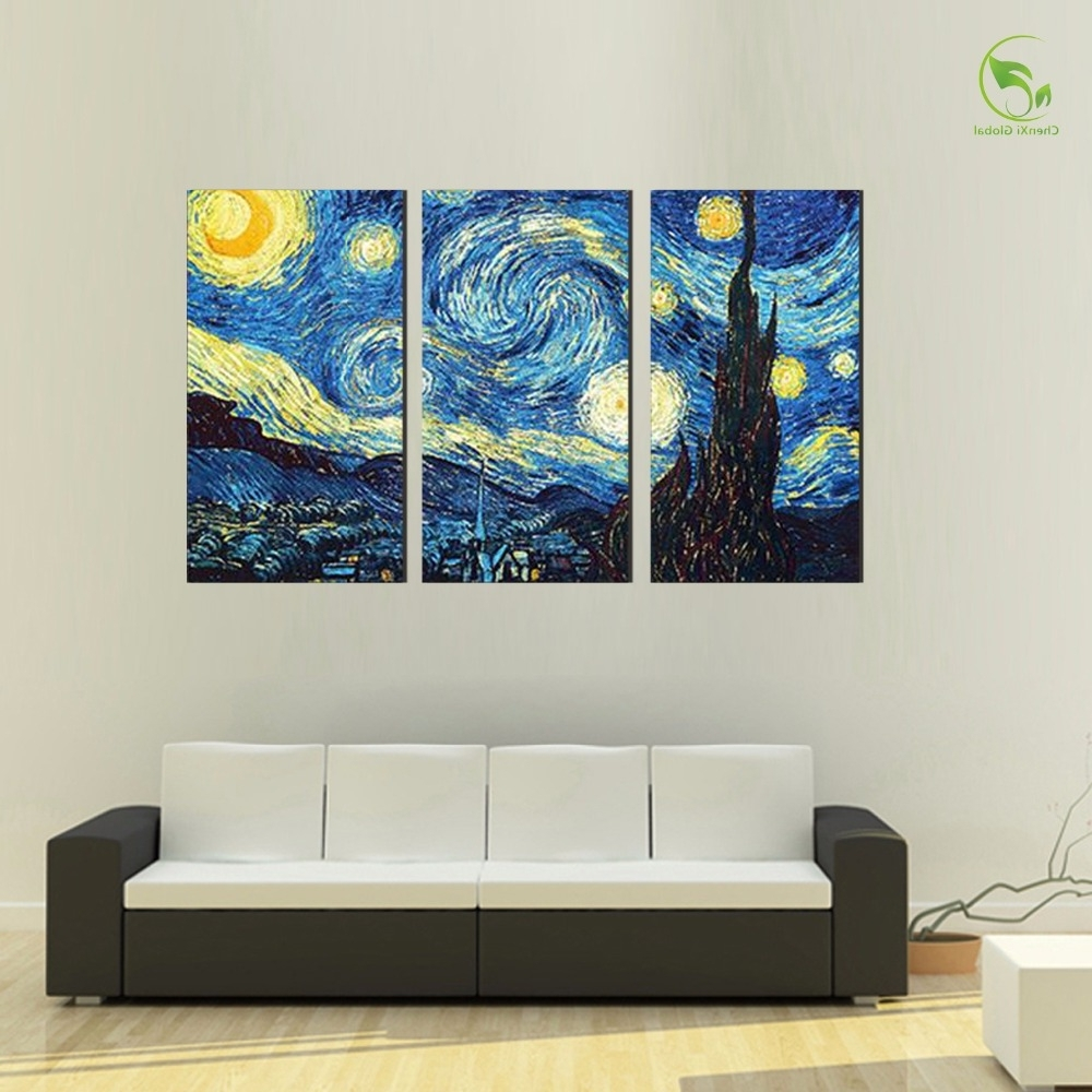 Favorite Masters Canvas Wall Art Pertaining To 3Pcs Masters Starry Night Vincent Van Gogh Prints Reputation Oil (View 7 of 15)