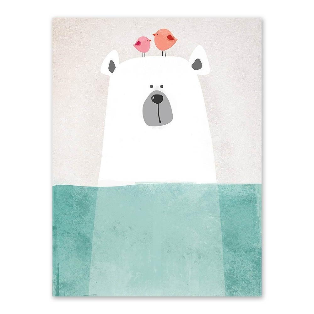 Favorite Modern Nordic Kawaii Animals Bear Hippo Penguins Poster Print For Modern Nursery Canvas Wall Art (View 13 of 15)