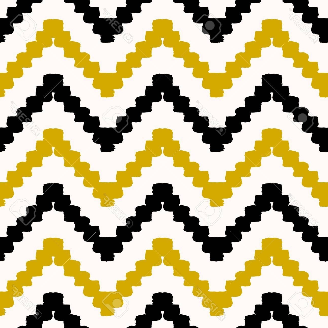 Favorite Modern Textile Wall Art Regarding Hand Drawn Seamless Chevron Pattern In Black, Yellow And Cream (View 8 of 15)