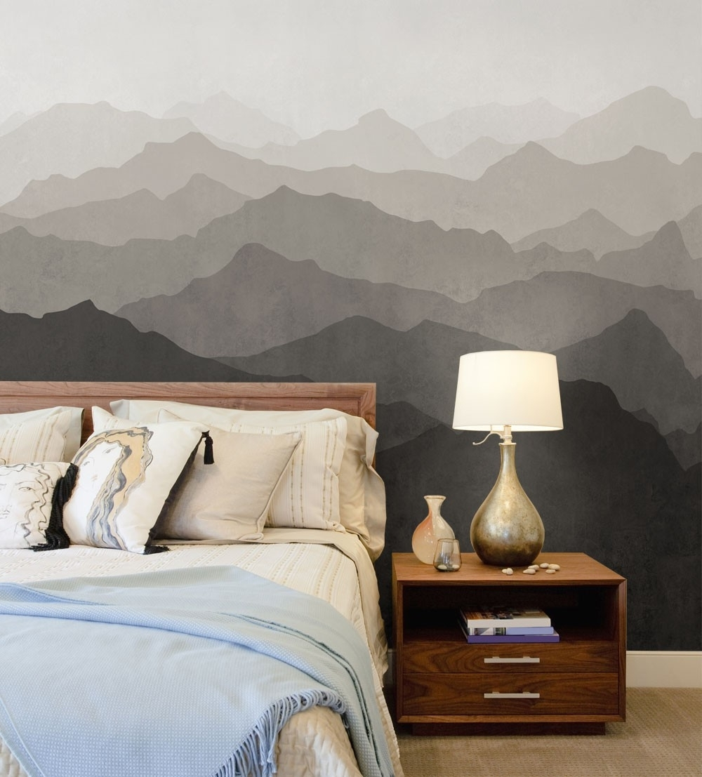 Favorite Wallpaper Bedroom Wall Accents In Mountain Mural Wall Art Wallpaper – Peel And Stick (View 10 of 15)