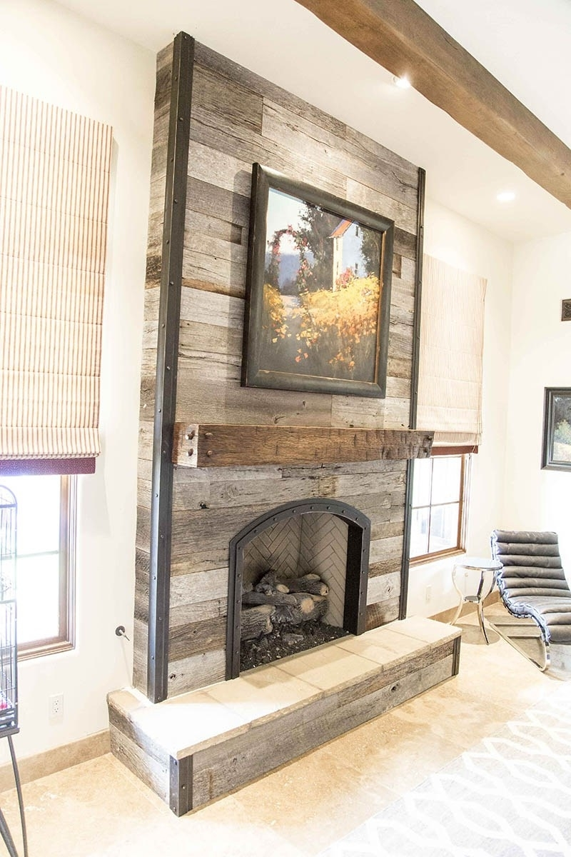 Fireplace Wall Accents In Newest Tobacco Barn Grey Fireplace Wood Wall W Steel Trim Porter Barn (View 6 of 15)