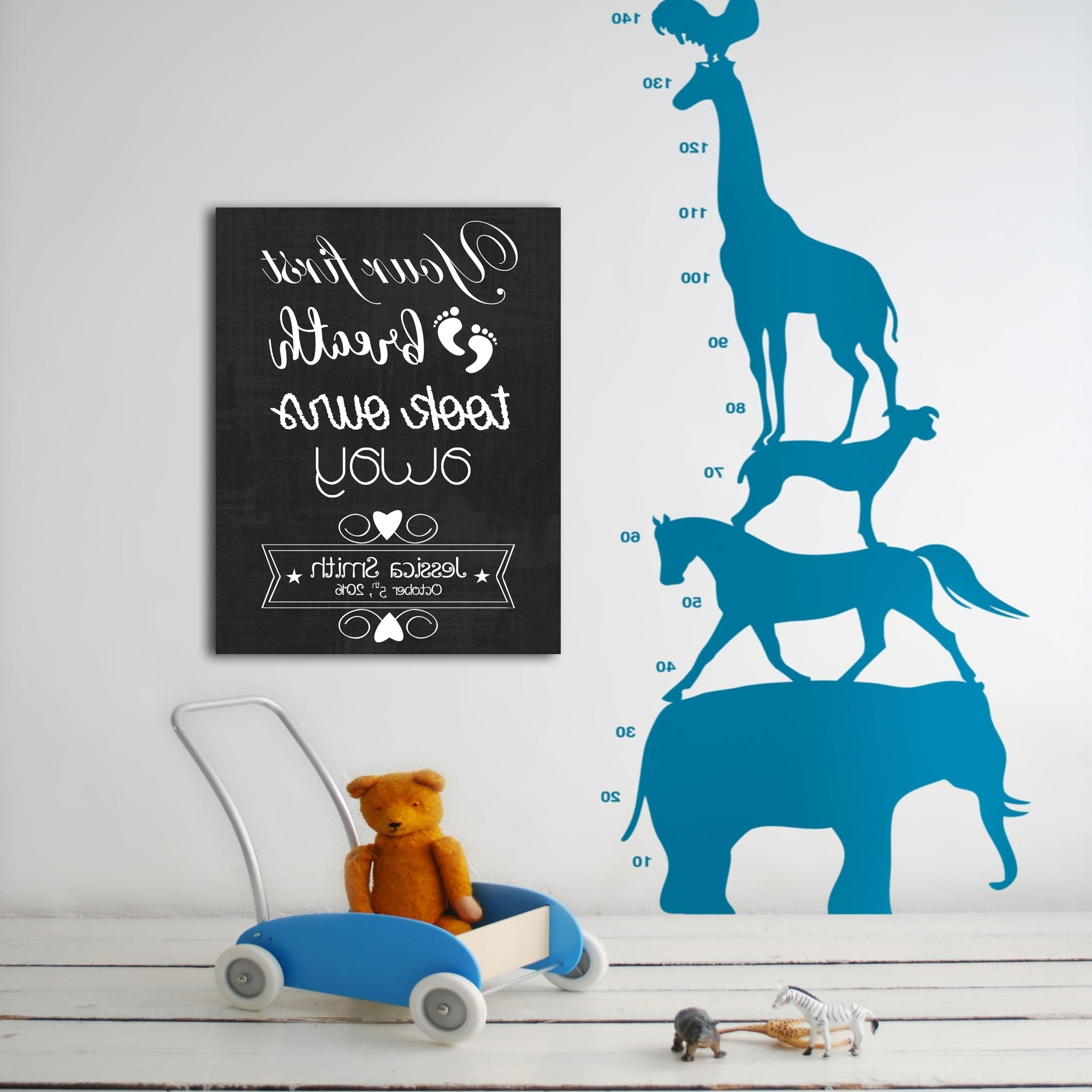 First Breath Personalized Nursery Décor Canvas Wall Art – Paper Blast Throughout Favorite Personalized Nursery Canvas Wall Art (View 4 of 15)