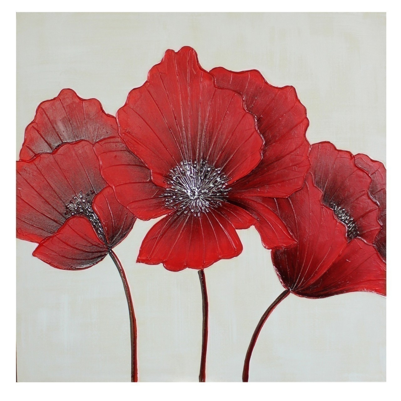 Flower Canvas Wall Art 80 X 80Cm Regarding Most Recent Red Flowers Canvas Wall Art (View 2 of 15)