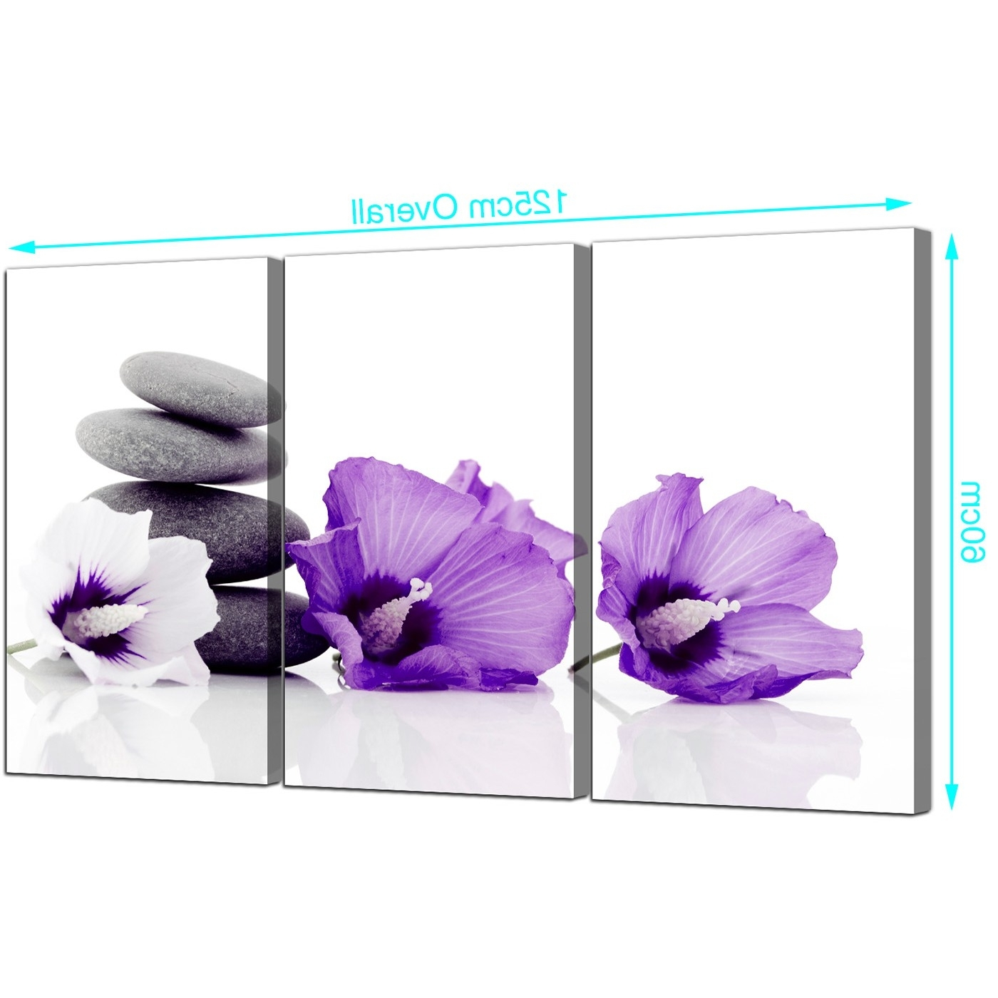 Flowers Canvas Wall Art Set Of 3 For Your Dining Room With Regard To Recent Purple Flowers Canvas Wall Art (View 13 of 15)