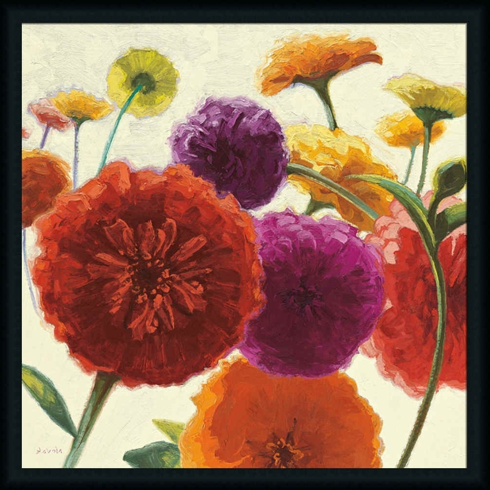 Flowers Framed Art Prints Regarding Favorite Pure Palette Zinniasshirley Novak – Art Print Framed (View 11 of 15)