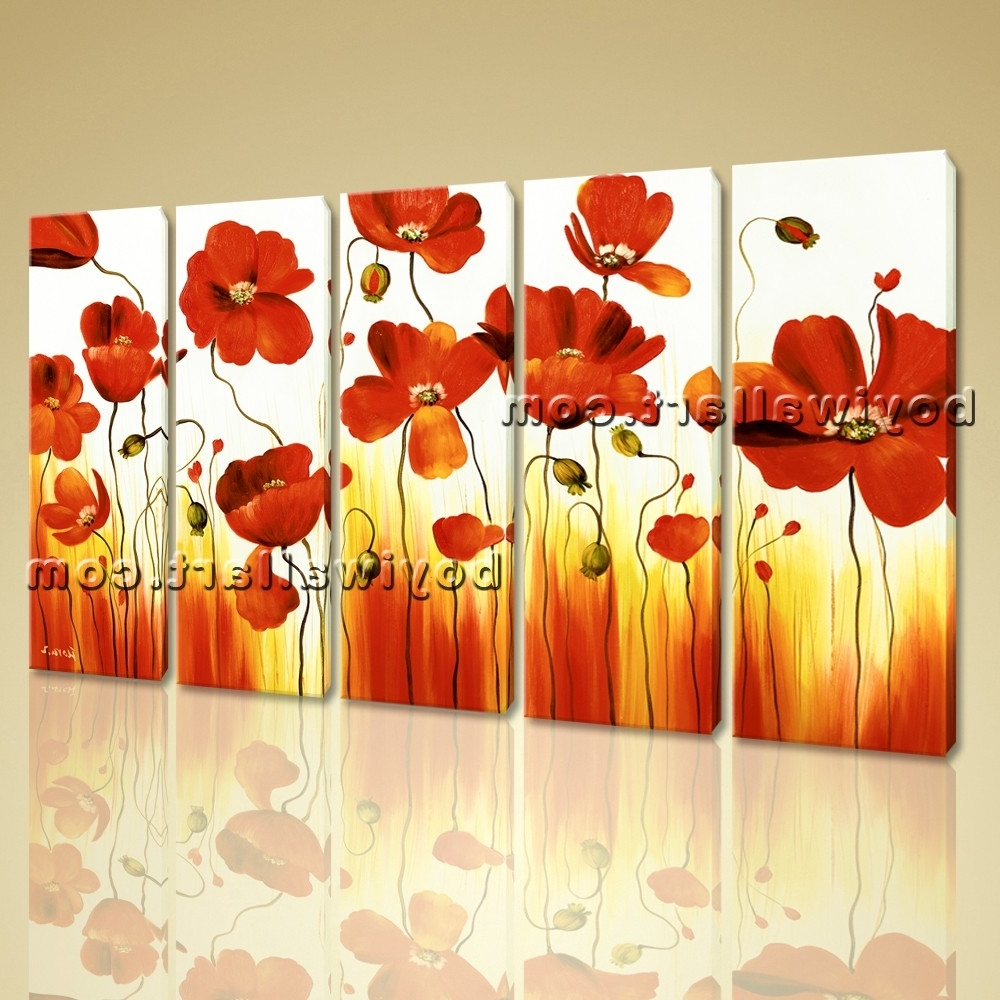 Flowers Framed Art Prints Regarding Most Current Stretched Canvas Wall Art Prints Abstract Painting Poppy Flowers (View 3 of 15)