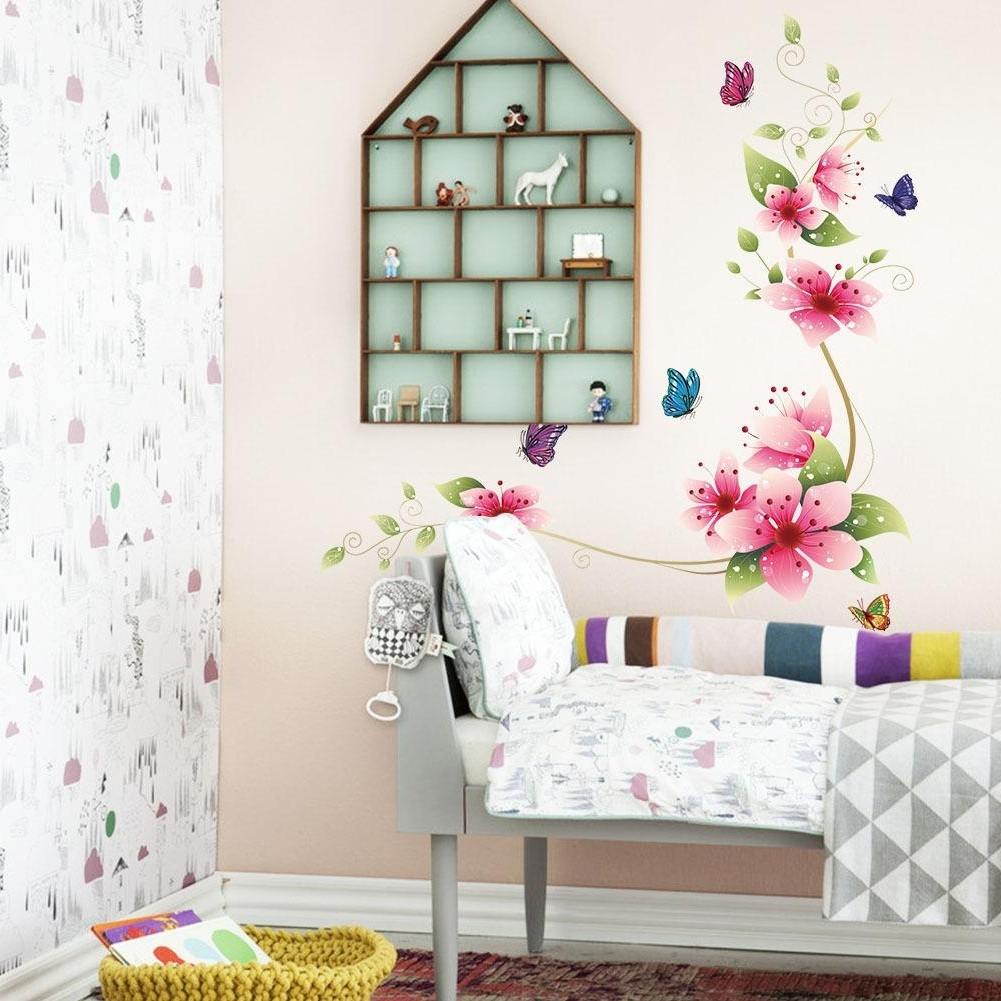 Flowers Wall Accents Throughout Famous Flower Butterfly Wall Stickers Living Room Flower Wall Decal (View 9 of 15)