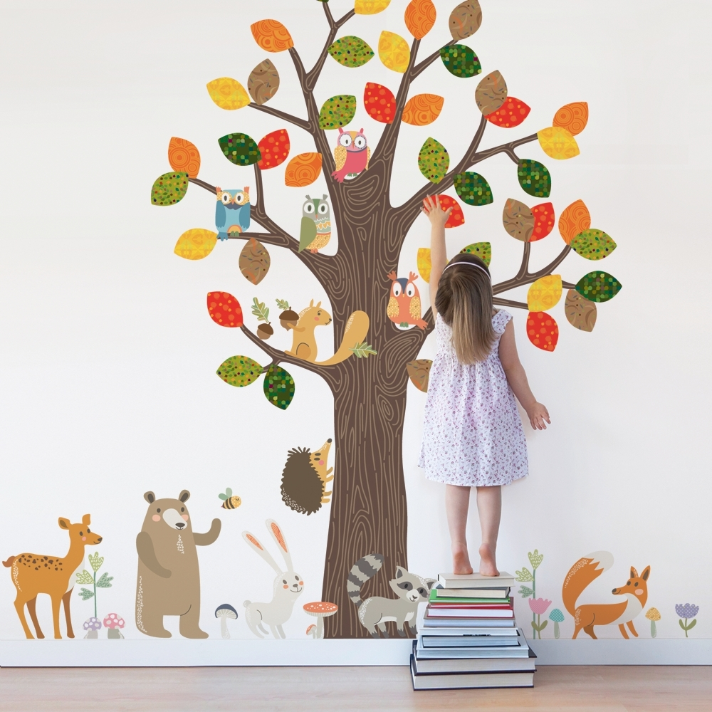 Forest Animals Wall Sticker – Peel And Stick Repositionable Fabric Within Newest Fabric Tree Wall Art (View 9 of 15)
