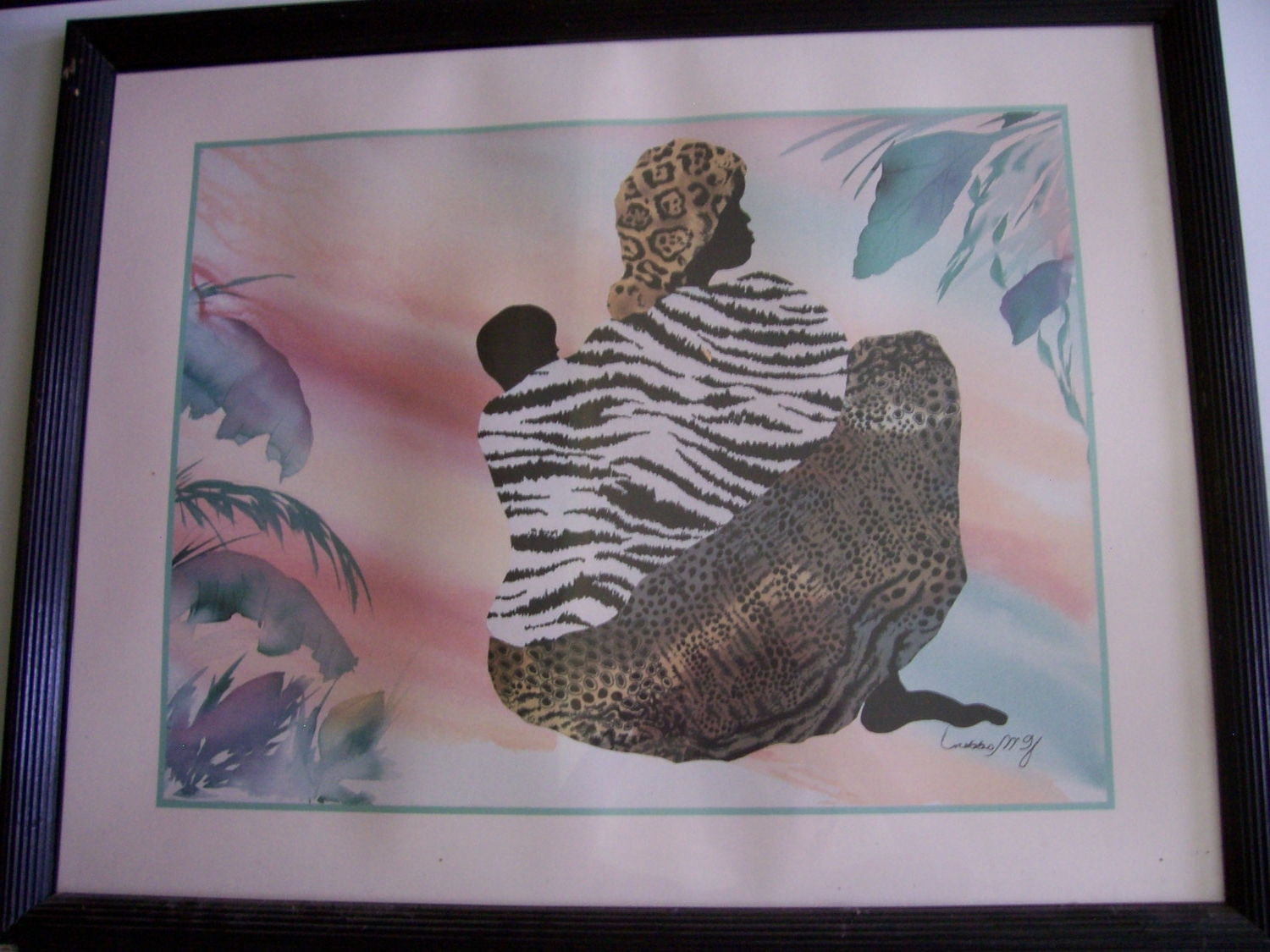 Framed African American Art Prints Pertaining To Most Up To Date Signed Vintage Watercolor Printj.c (View 10 of 15)