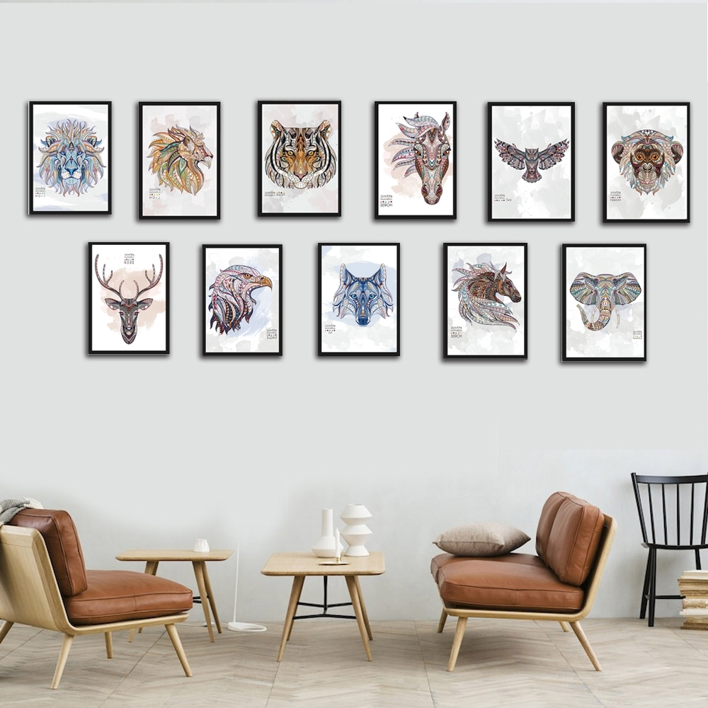 Framed Animal Art Prints With Most Recently Released Nordic Wild Animal Canvas Painting A4 No Frame Art Print Poster (View 10 of 15)