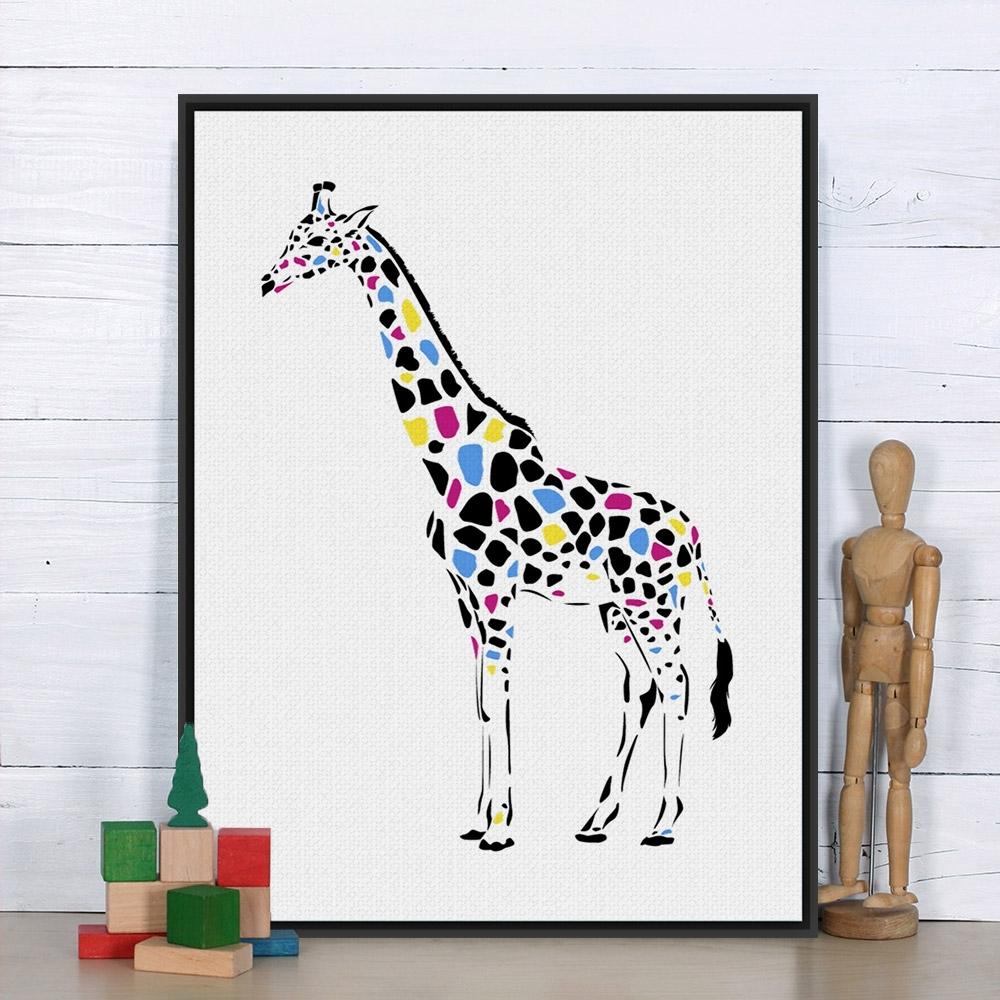 Framed Animal Art Prints Within Well Known Modern Colorful Giraffe Personalised Animal Art Print Poster (View 12 of 15)