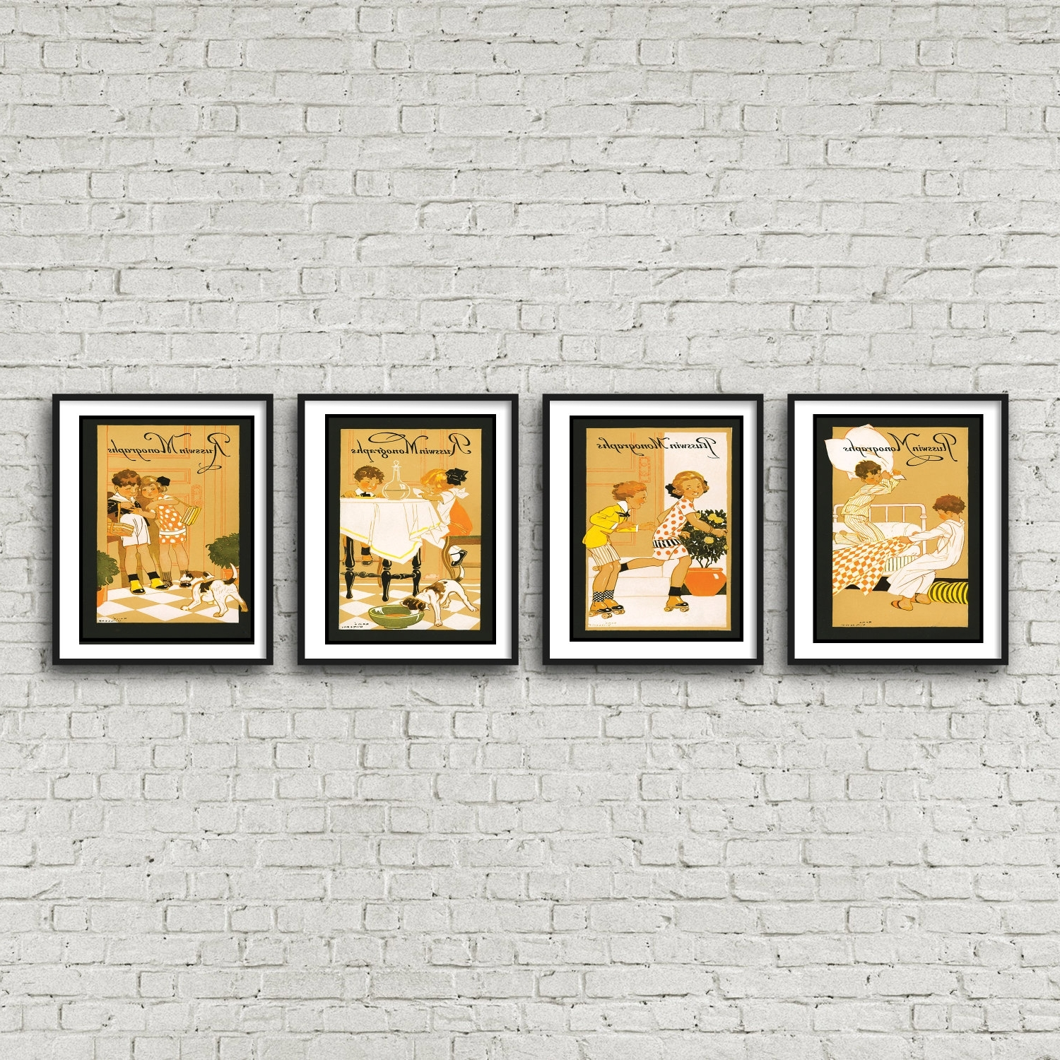 Framed Art Deco Prints For Most Popular 4 Piece Wall Art – Children's Art Deco Nursery Art Free Shipping (View 13 of 15)