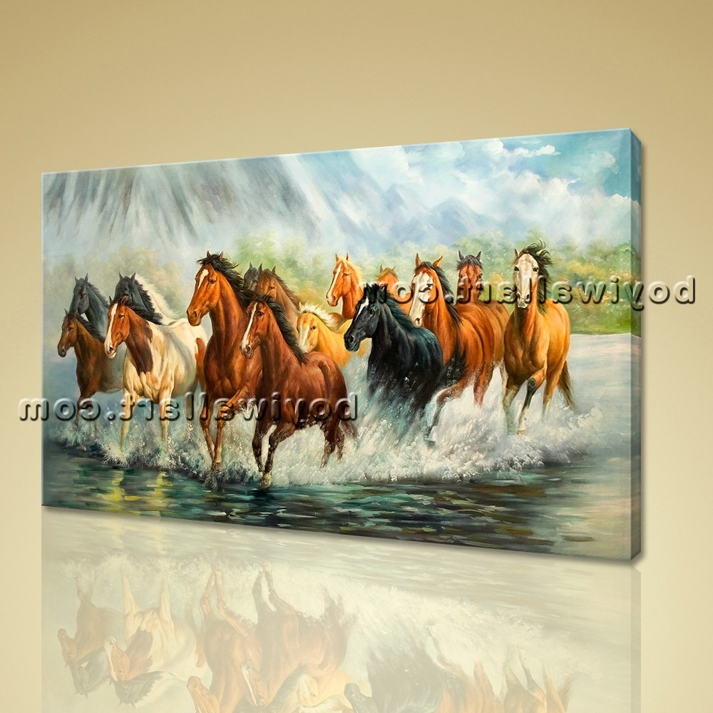 Framed Artwork Giclee Print Group Horse Canvas Print Home Decor Inside Popular Horses Canvas Wall Art (View 7 of 15)