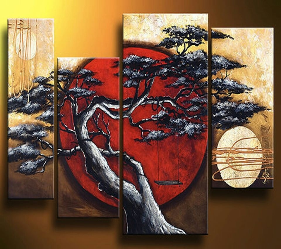 Framed Asian Art Prints Pertaining To Well Known Abstract Modern Landscape Asian Tree Artgabriela 44X32 Black (View 5 of 15)